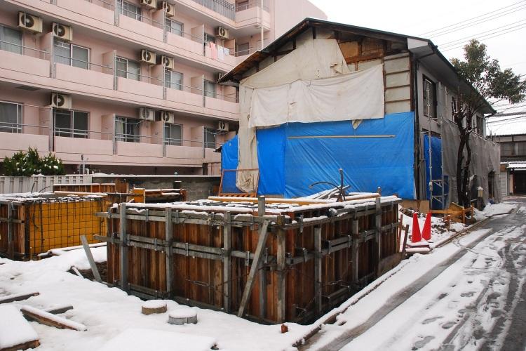 冬の寒い時期にやった基礎工事